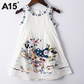 A15 Girls Dress 2017 Summer Embroidery Dress Princess Gown Dress Children Clothing Age 10 12 14 Year Kids Birthday Party Costume