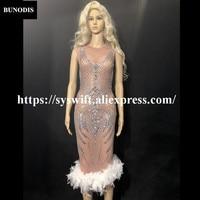 BU213 Для женщин короткое белое перо длинная юбка рукавов кожи Цвет пряжи сверкающий кристалл для ночного клуба вечерние этап одежда Bling костю