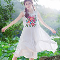 Three Dimensional Embroidery Tank Dress Fashion New Women Large Size Long Design Loose Cotton Linen Summer Clothes 2016