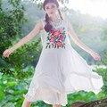 Três Dimensional Bordado Vestido Tanque de Moda de Nova Mulheres Tamanho Grande Projeto de Longo Solto de Algodão de Linho Roupas de Verão 2016