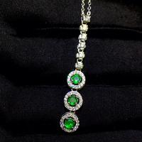 Natural green diopside pendant S925 silver Natural gemstone Pendant Necklace trendy String Tassels women party gift jewelry
