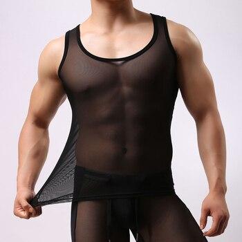 Brave Person Man Sports Vest Transparent Men's Sportswear Black/white Mens Sports Top Mesh Tights Sexy Tights For Men