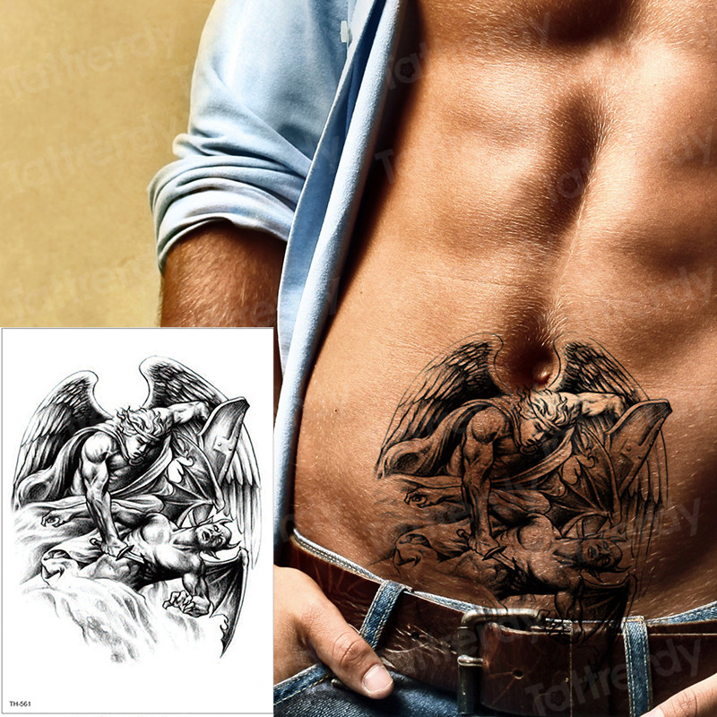2019new Temporary Tattoos Angel Defeats The Devil Kill Designs Armband Tattoos Women Mens Fake Tattoo Water Color Tatoo Arm Body