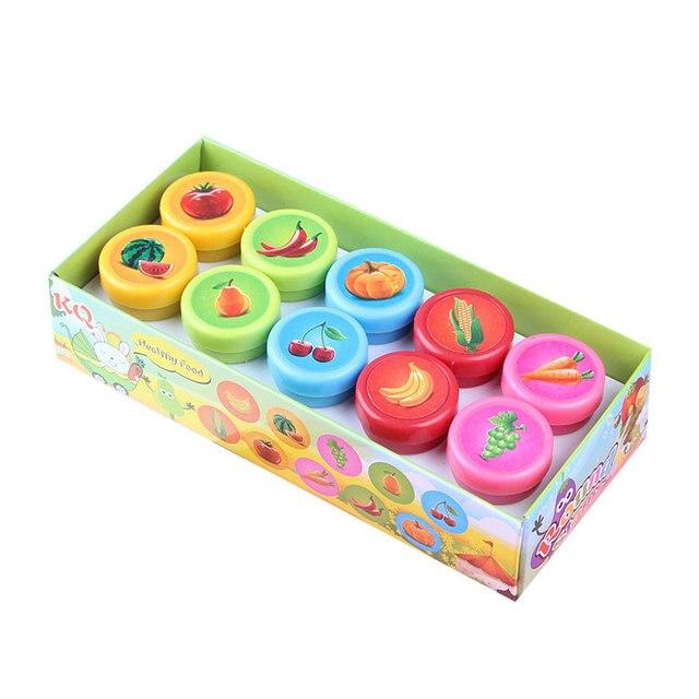 10 יח'\סט ילדי צעצוע חיות מצוירות בולי פירות ירקות ילדים חותם לרעיונות סטמפר DIY ציור אלבום תמונות דקור