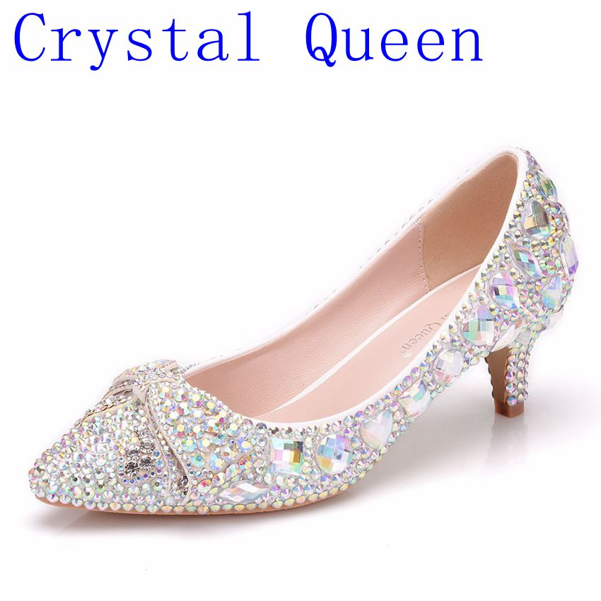 Crysta Lqueen Shoes Cinderella Women Heels For Evening Party Glittering Round Toe Custom  Color Rhinestone Bow Wedding Pumps