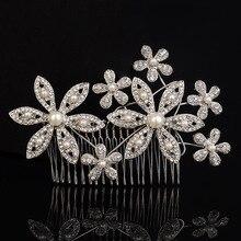 2017 New Elegant Women Pearl Crystal Flower Hair Combs Silver Plated Bridal Hair Piece Hair Accessories Wedding Headwear Jewelry