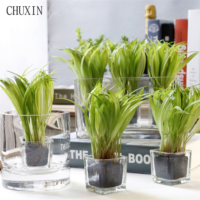 Korean Home Decoration Mini Bonsai Artificial Plant Green Wheat Seedling  Glass Mini Potted Artificial Succulent Garden