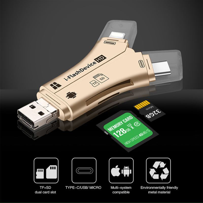 Multi-function 4 In 1 I Flash Drive USB C Micro SD/TF Card Reader For IPhone For IPad Macbook Android Type-C Lighting USB2.0