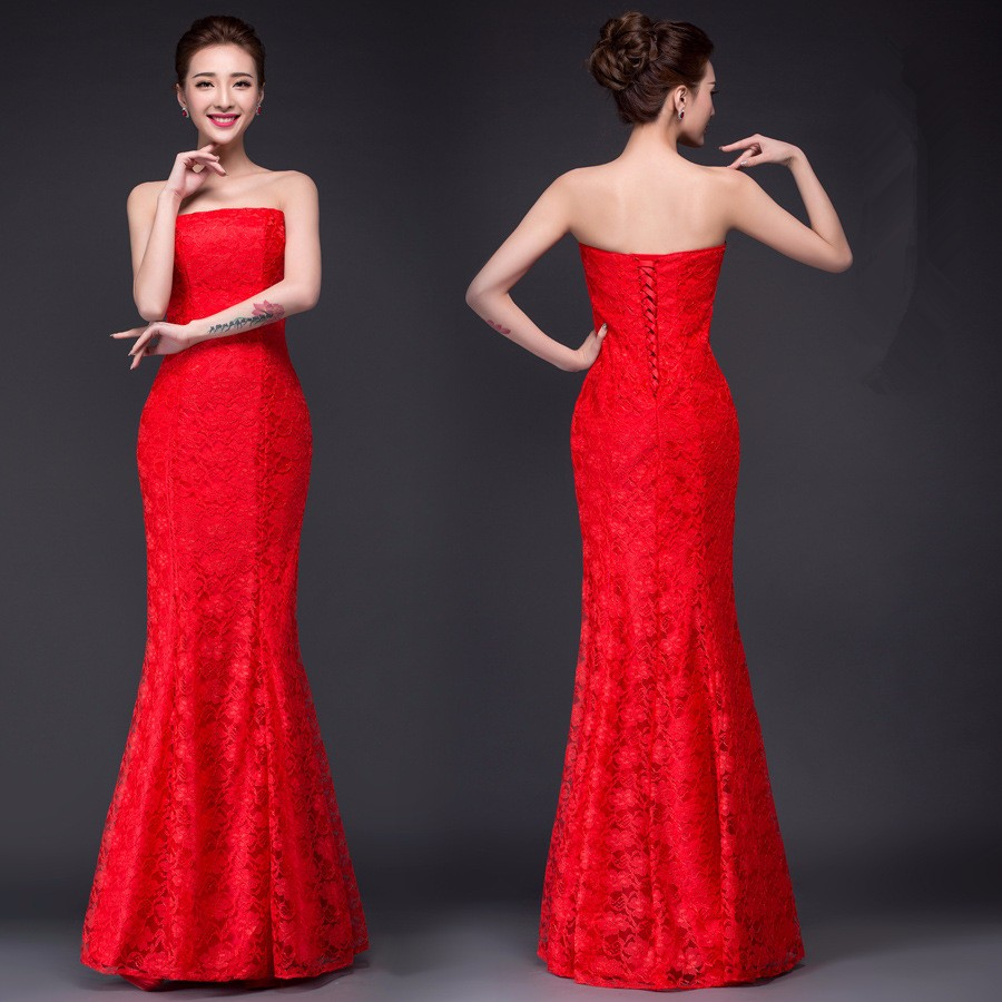 Image 5 - DM2670B#Spring summer new 2019 fish lace up tail sexy long Dresses bride toast wedding dress Gril Wholesale women clothing cheap-in Wedding Dresses from Weddings & Events