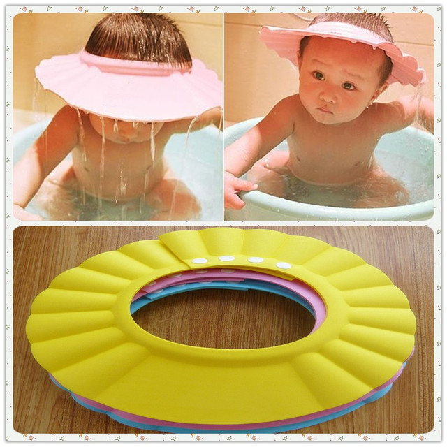 6pcs/lot Baby Care Product/Bath & Shower Products/Shampoo Cap/Multi-Function Caps with Four Buttons for Adjusting Different Size