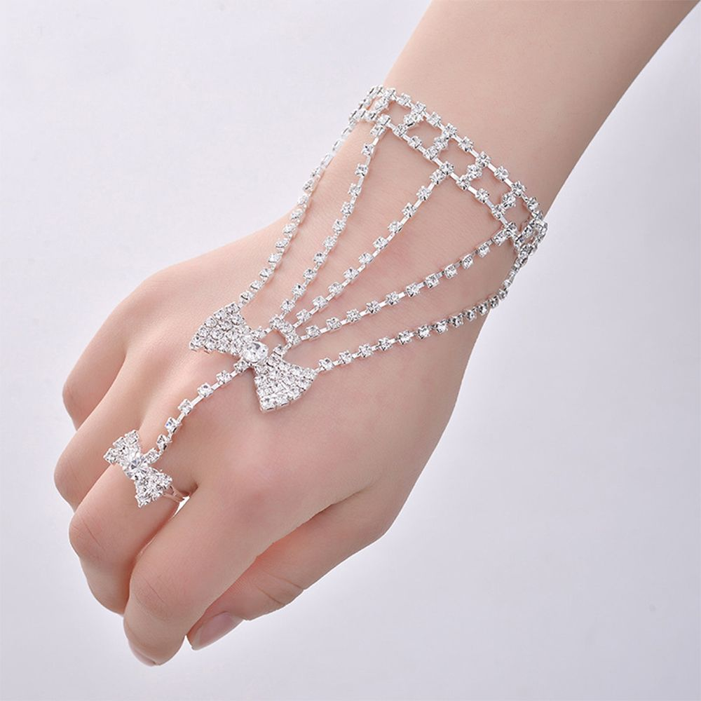 1 Pcs Bangle Chain Link Finger Charm Girl Women Dancing Bow Wedding ...