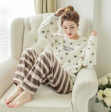 2107 Winter set New Brand Thickened Cute Sleeping Owl Coral Fleece Pajamas Furnishing Suit Coral Velvet Home Wear Leisure Wear  Пижама