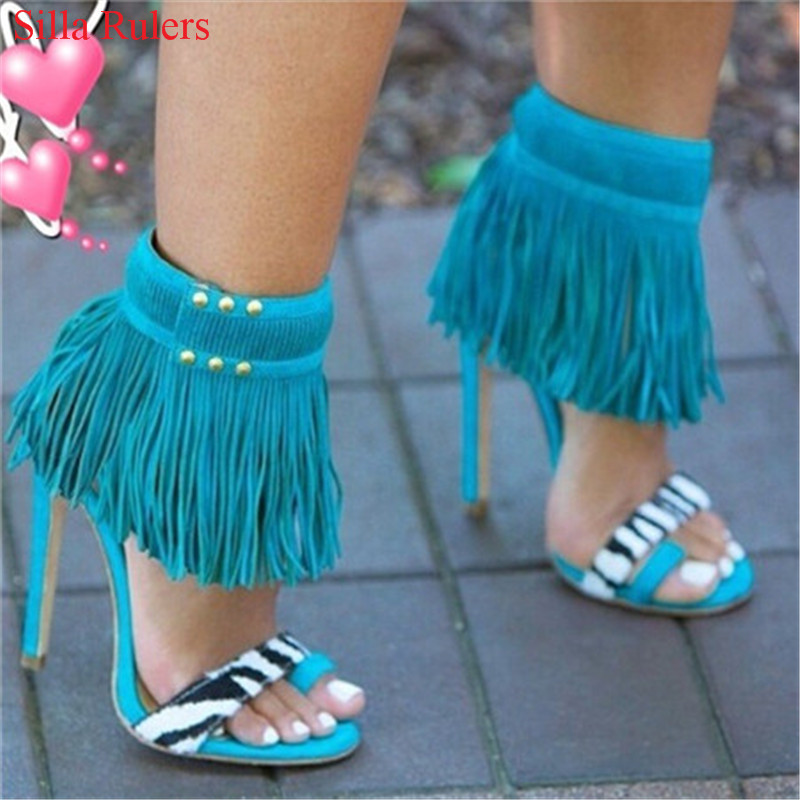 New Fashion Blue Rose Red Fringe Sandals High Heels Gladiator Sandals Women Ankle Boots Ladies Shoes Woman Pumps Sandalias Mujer prova perfetto hollow out ladies gladiator sandals women platform pumps rivets chunky high heel shoes woman sandalias mujer