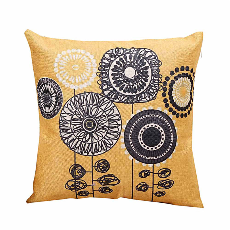 1PC Fashion Bright yellow pillow case cover Sun flower cartoon style throw pillow slip 45cm drop shipping on sale