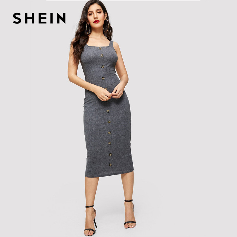 SHEIN Grey Single Breasted Rib-Knit Ladies Bodycon Dress Summer Minimalist  Women Going Out Sexy 25104c3a2862
