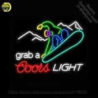 Неоновая вывеска для Лыжный Спорт захватить лыжный Войдите неоновая трубка Coors Light коммерческих света ручной работы лампы магазине отображ