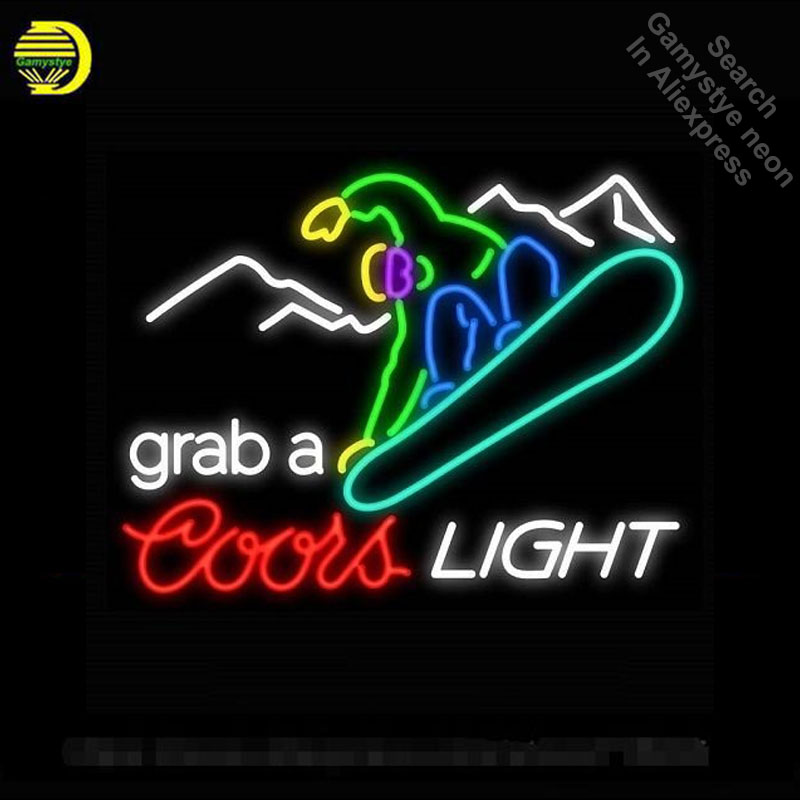 Neon Sign for Skiing Grab a Ski Neon Tube Sign Coors Light Commercial Light handcraft Lamps Store Displays neon light sign