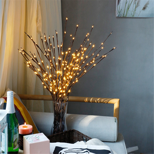 nordic style 20 bulbs christmas tree decoration led willow branch lamp floral lights home party supplies - Nordic Christmas Tree Decorations