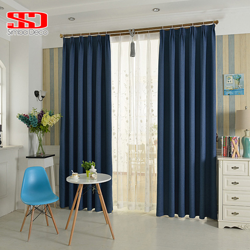 Modern Faux Plain Linen Blackout Curtain for Living Room Solid Drapes Shades for Bedroom Window Panel Custom size Cortina Grey