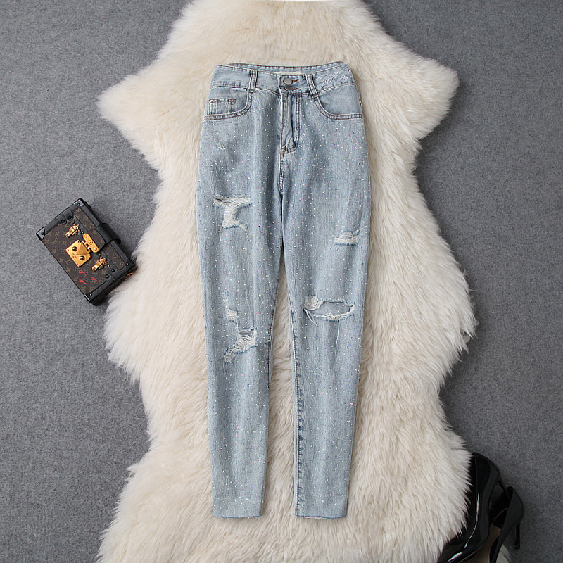 Jeans Woman 2019 Spring Summer New Fashion Holes Shiny Hot Fix Rhinestones All Matched Ankle Length Denim Pants