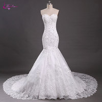 Waulizane Sweetheart Mermaid Wedding Dresses Lace Up Off The Shoulder Beadings Crystals Appliques Tulle Court Train