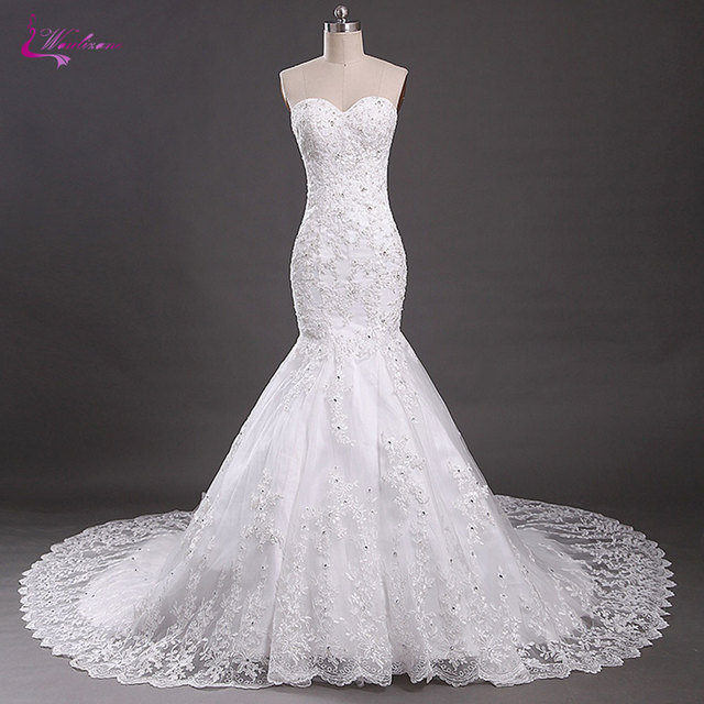 Waulizane Sweetheart Mermaid Wedding Dresses Lace Up Off The Shoulder Beadings Crystals Appliques Tulle Court Train Bride Gowns