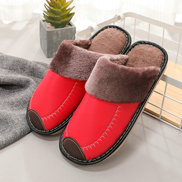 Mens Leather Fur Lined Home Slippers Bedroom Casual Winter Warm Non Slip Shoes