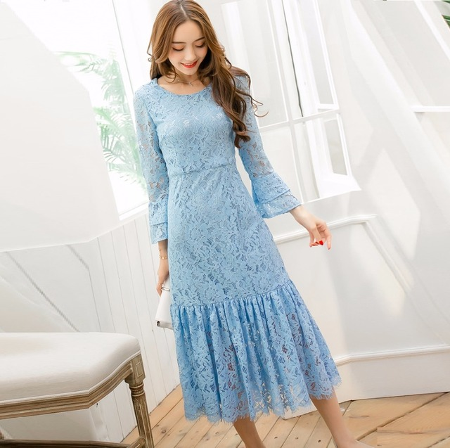 Women plus size mid-calf Lace Dress ruffled pinched waist flare sleeve  elegant party dress temperament vestido tunics XXXXL3986 f3dd64977d40