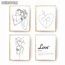 Minimalist Kissing Wall Art Couple Kiss Poster Prints One Line Drawing Canvas Painting Love Definition Bedroom