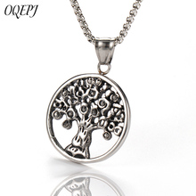 OQEPJ Gothic Tree Of Life Sharp Necklaces Pendant Stainless Steel Silver Color Plant Round Necklace Auspicious Jewelry