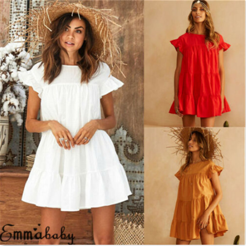 Short Sleeve Beach Dress Women Solid White Red Yellow Tunic Swim Beach Cover Up Lady V Neck Flare Sleeve Pleated Beach Cover Ups