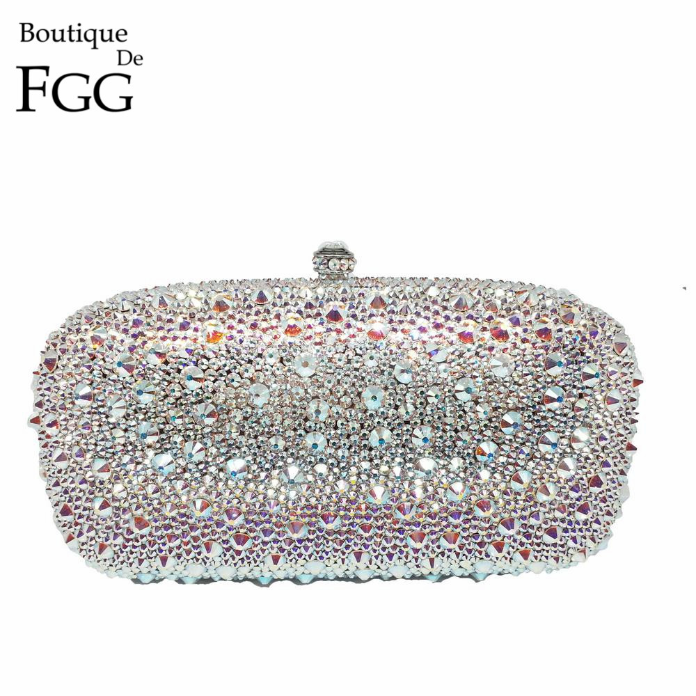 BlingBling Swar Crystal AB Ladies Party Wedding Clutch Bags Women Diamond Evenin