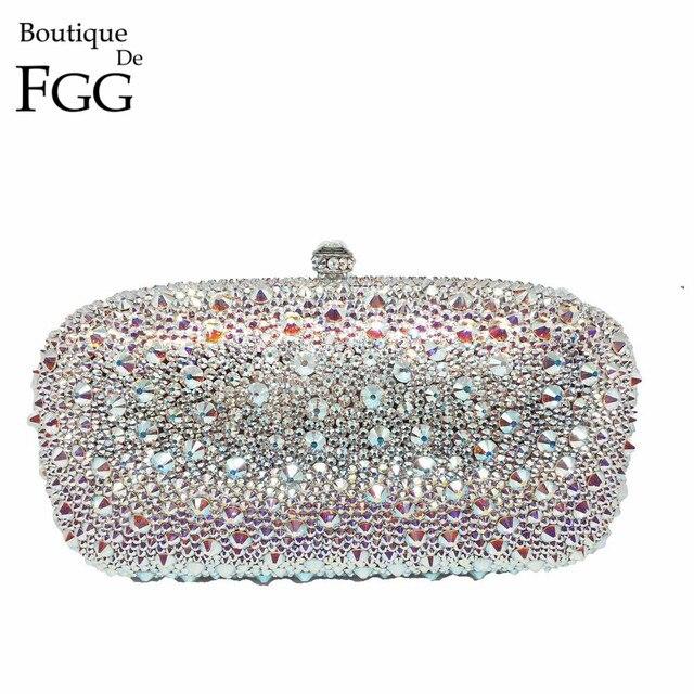 BlingBling Swar Crystal AB Ladies Party Wedding Clutch Bags Women Diamond Evening Bag Clutches Inside Genuine Leather Handbag
