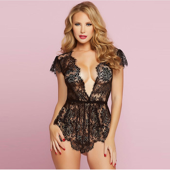 Sexy Lace Top Body Suit One Piece V-neck Lingerie Backless Bodysuit Plus Size Women Floral Black Erotic Intimates Body Nightwear 2