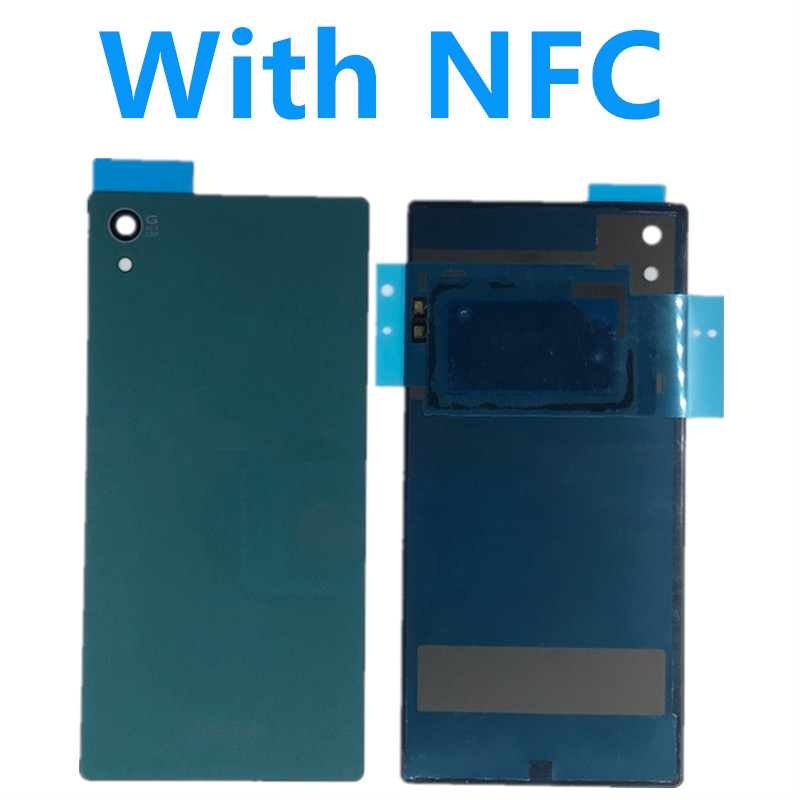 For Sony Xperia Z5 E6603 E6633 E6653 E6683 Housing Rear Door Cover Z5 5 2 inch Back Glass Battery Cover Waterproof Sticker NFC in Mobile Phone Housings Frames from Cellphones Telecommunications