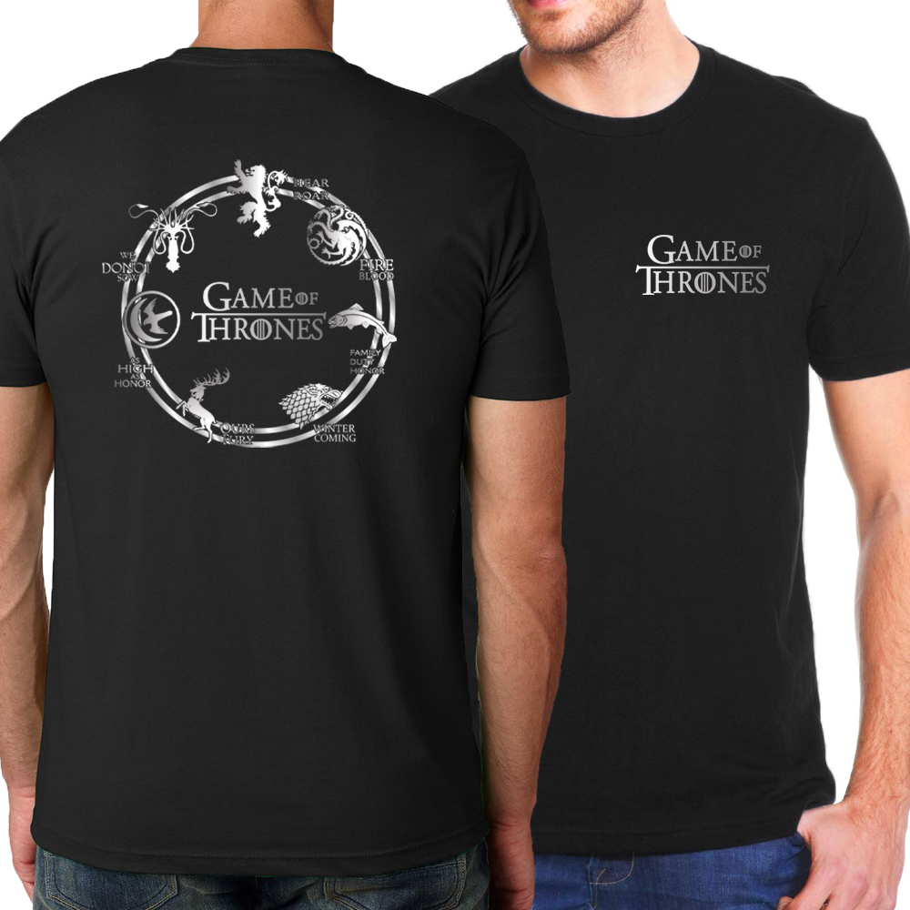 2018 Summer Game of Thrones Men T-Shirts Hip Hop T shirts House Stark Fire & Blood T Shirt Fashion Brand-Clothing Loose Top Tees