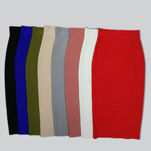 Free Shipping Wholesale Sexy Blue Red Beige Blue Long Bandage Skirt 2018 Designer A Line Pencil Skirt Faldas 78cm(China)