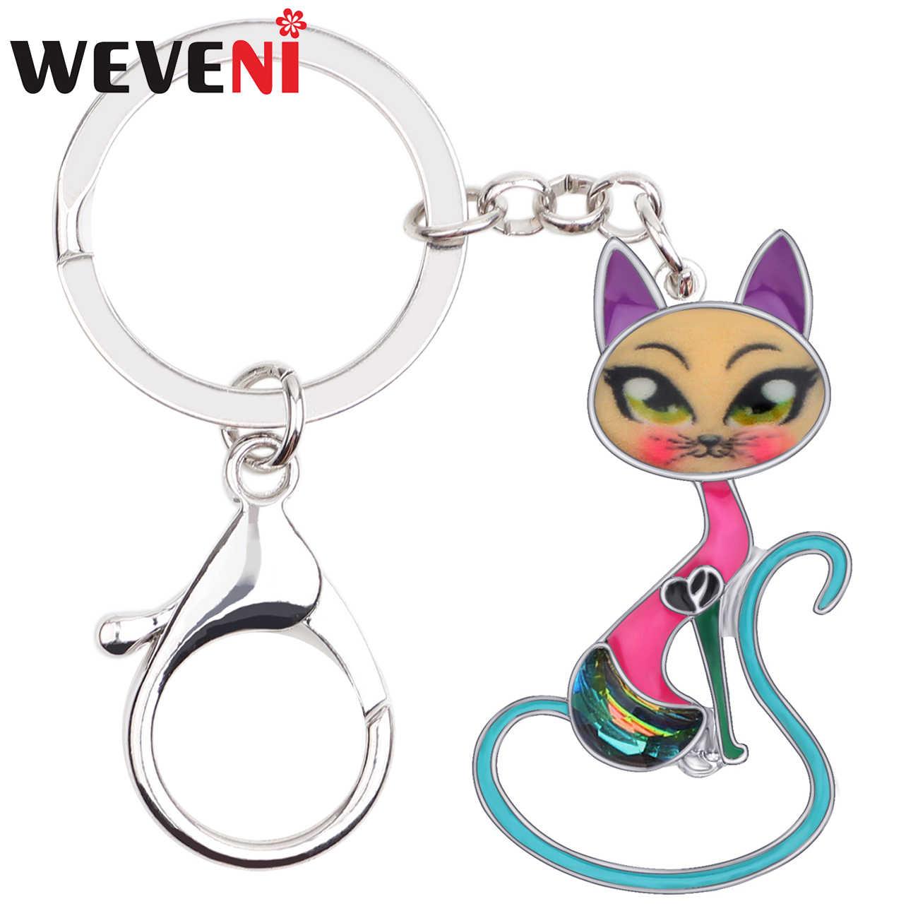 WEVENI эмаль сплава горный хрусталь котенок кошка Ключ Цепочки брелок Мода животных украшения для женщин обувь девочек Сумка кошелек Шарм