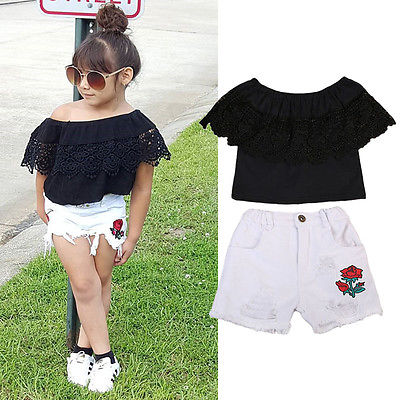 New Fashion Toddler Baby Kids Baby Girls Off Shoulder Lace Tops Denim Floral Shorts 2pcs 2018 Summer Outfits Set