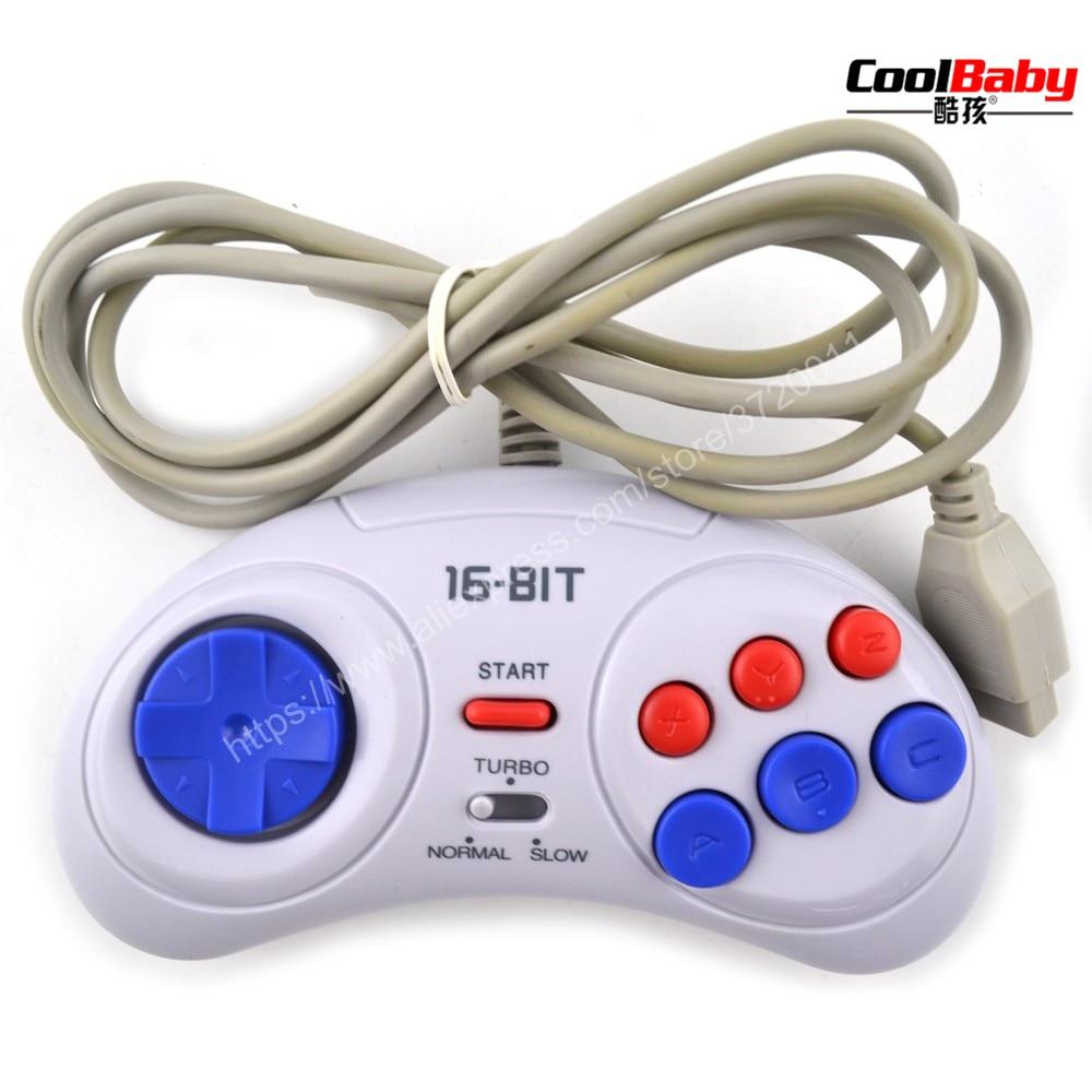 16 bit Classic Wired Game Controller for SEGA Genesis 6 Button Gamepad for SEGA Mega Drive Mode Fast Slow white