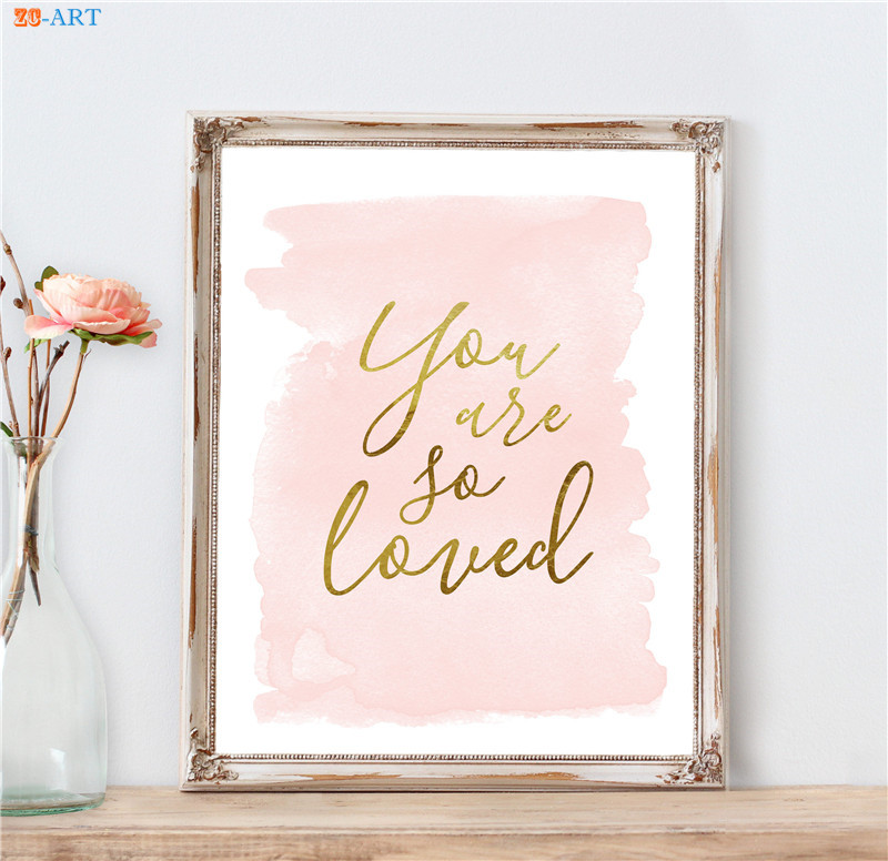 Blush Pink Gold Wall Art Quote Poster Nursery Art Print