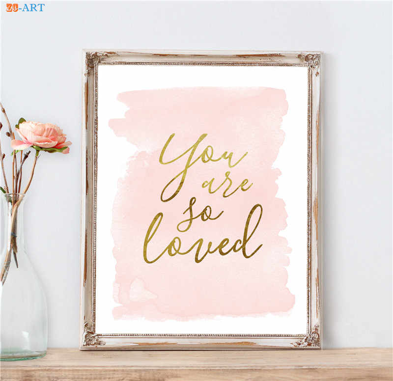Blush Pink Gold Wall Art Quote Poster Nursery Art Print Canvas Painting  Wall Pictures for Living Room Romantic Gift No Frame