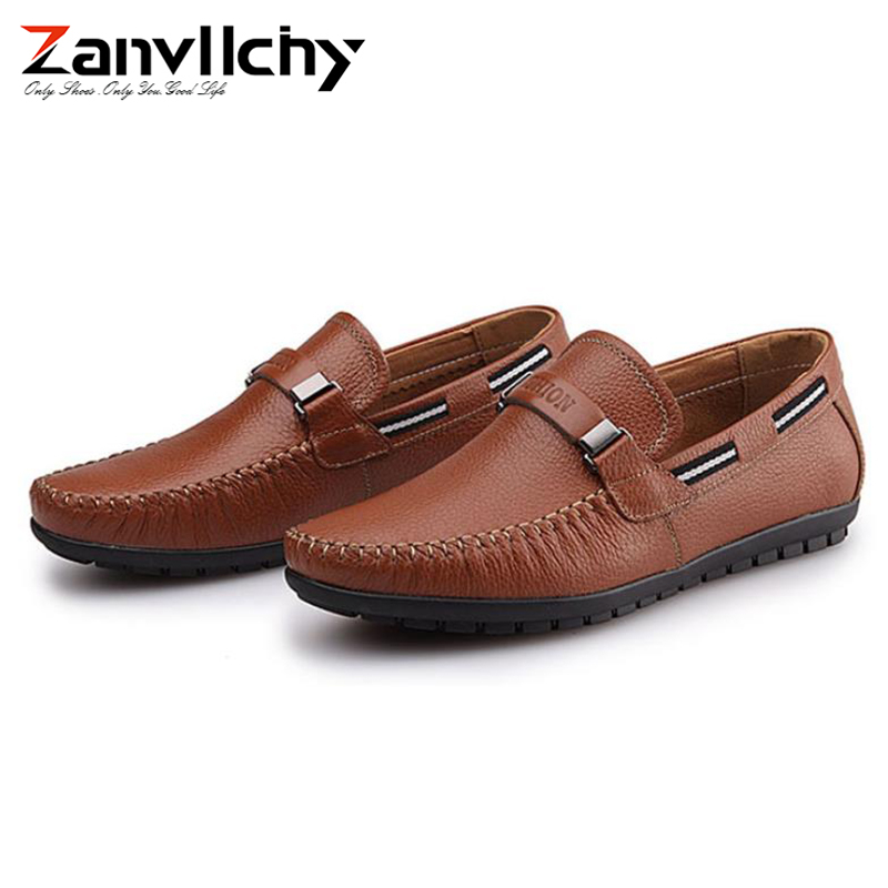 100% Genuine Leather Men Loafer Shoes Breathable Mens Flats Slip On Leather Shoes Casual Soft Mocassin Homme Brand Loafers Male
