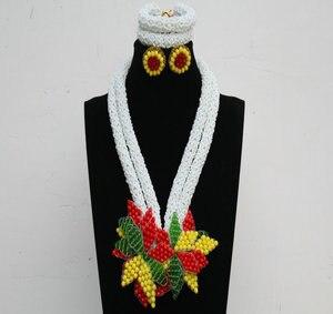 Image 2 - Женский комплект ювелирных изделий Dudo, набор свадебных украшений серебристого и синего цвета с африканскими бусинами, ожерелье в нигерийском стиле, 2017
