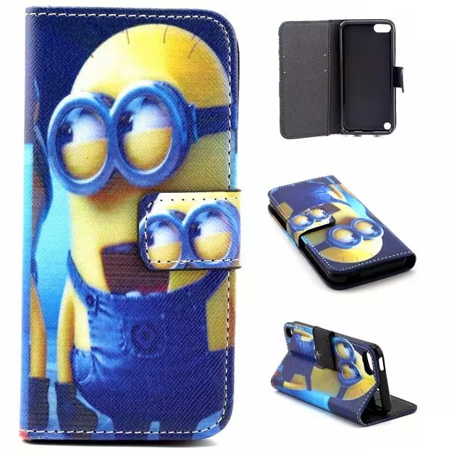 new product 5e3f3 4c802 US $4.9 |Cartoon Minions Flip Leather Stand Wallet Coque Case Cover for  Apple IPod Touch 5 Generation / Touch 6 Case Cover Wallet-in Wallet Cases  from ...