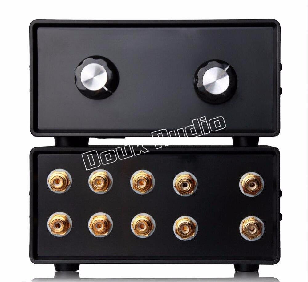 Tüketici Elektroniği'ten Amplifikatör'de 2017 Son Douk Ses Mini Stereo 4 IN 1 OUT RCA Sinyal Girişi ses dağıtıcı kablosu/Switcher Ses kontrol Ücretsiz Kargo title=