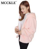 MCCKLE Women S Faux Fur Hooded Jacket 2017 Autumn Winter Fashion Ladies Coat With Hat Chic