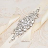 Yanstar Bridal Belt Silver Rhinestones Wedding Belt Handmade Crystal Bridesmaid Belt For Wedding Decoration 35WB855
