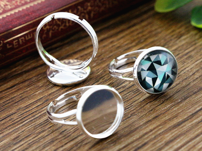 Cabochon 18mm X 25mm Silver Plated Oval Chunky Cut Out Blank Ring Setting Bezel