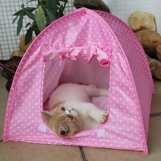 Portable Foldable Cute Dots Pet Tent Playpen Outdoor Indoor Tent For Kitten  Cat Small Dog Puppy